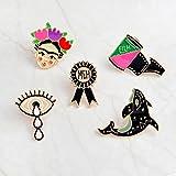 Kofun Brosche Pins, 5 Stück Frida Kahlo Künstler Dolphin Eye Emaille Anstecknadeln Broschen Cute Schmuck