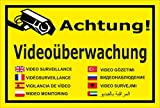 Video-Überwachung Schild - Achtung Videoüberwachung - in 8 Sprachen – 30x20cm mit Bohrlöchern | stabile 3mm starke Aluminiumverbundplatte – S00348-011-C – Kamera-Überwachung +++ in 20 Varianten erhältlich