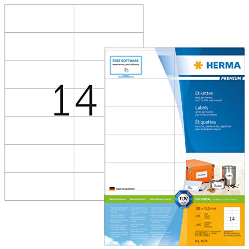 Herma 4674 Universal Etiketten (105 x 42,3 mm) weiß, 1.400 Klebeetiketten, 100 Blatt DIN A4 Premium Papier matt, bedruckbar, selbstklebend