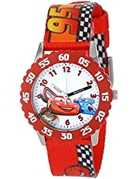 "Disney Kids' W001035 ""Time Teacher"" Cars Stainless Steel Watch With Printed Nylon Band"