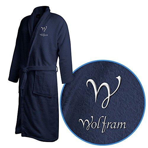 Bademantel mit Namen Wolfram bestickt - Initialien und Name als Monogramm-Stick - Größe wählen Navy