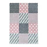 Teppich Flachflor Kurzflor Modern Karomuster Sterne Pastellfarbe Rosa Wohn-/Jugendzimmer Größe 120/170 cm