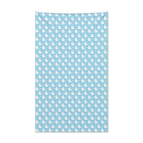 ABAKUHAUS Wal Wandteppich und Tagesdecke, Blaue Baby-Dusche-Design aus Weiches Mikrofaser Stoff Kein Verblassen Klare Farben Waschbar, 140 x 230 cm, Hellblau Weiß