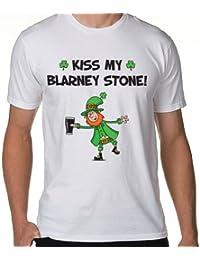 Kiss My Blarney Stone Leprechaun Men's T-Shirt (Sizes Small to 3XL)