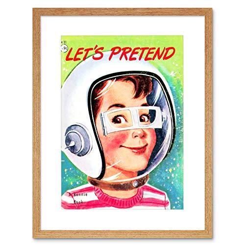 VINTAGE MAGAZINE COVER LET'S PRETEND CHILDREN ASTRONAUT 1954 ART PRINT B12X11669 -