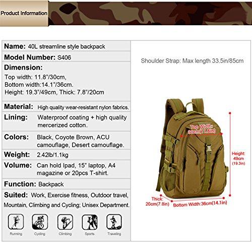 Imagen de huntvp  de asalto estilo militar táctical bolsa impermeable de nylon 40l para las actividades aire libre senderismo caza viajar color negro y marrón alternativa