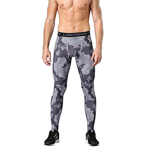 1Bests Männer Sportbekleidung Kompression Fitness Elastizität Hosen Basketball Lauf Workout Strumpfhosen Basisschicht Trockene Leggings Hosen (Blackish green, L)