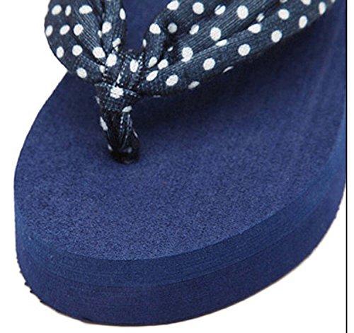 Minetom Donna Dot Stampa Flat Flip Flops Zeppa Piattaforma Sandali Slim Infradito e Ciabatte Blu