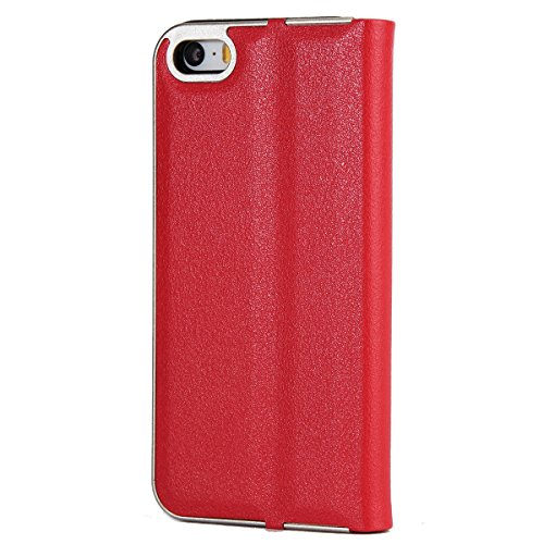 CaseforYou Hülle iPhone SE 5SE 5 5S Deckung Gehäuse Litchi Grain Pattern PC + PU Leather Protective Deckel Case Magnetic Closure Flip Stand Cover mit Card Slot Schutz für iPhone SE 5SE 5 5S (Grey) Rot