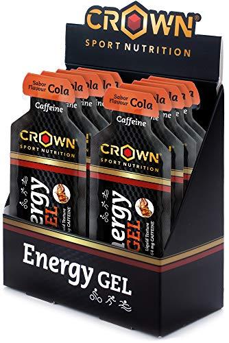 Crown Sport Nutrition 12 x Energy Gel + Cafeína (40g), Gel energético textura líquida con...