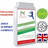 Glucosamine Sulphate 1500 mg + Chondroitin + Vitamin C – High Strength Joint Complex Supplement – All Natural Arthritis Aid , Supports Joint Recovery, Healthy Bones, Aches, Development of Cartilages- 180 Tablets by Nutritech Labs Ltd