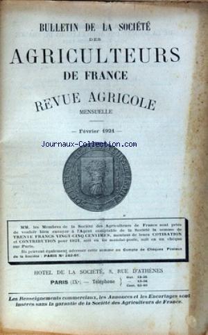 BULLETIN DE LA SOCIETE DES AGRICULTEURS DE FRANCE [No 2] du 01/02/1921