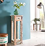 FineBuy Design Beistelltisch YEMA 30 x 30 x 90 cm Massiv mit 1 Schublade | Telefontisch Holz Shabby Vintage | Holztisch Quadratisch Modern Bunt