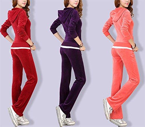 Pantalon de survêtement et de jogging à capuchon en velours pour femmes Pantalon de jogging à tirettes et à glissière pour femmes Sport 2 pièces Couleur café pourpre