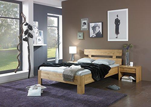 Schwarze Leder-kopfteile (MeinMassivholz Trend Wildeiche - Massivholzbett mit aufgesetztem Kopfteil in 90 x 200 cm, Made in Germany)