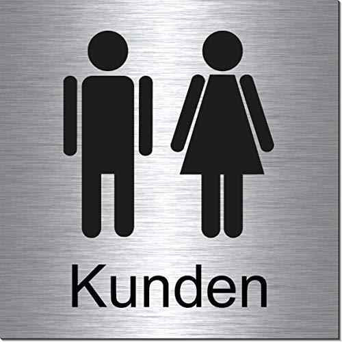 Toiletten-Kunden-Bad-WC-Klo-Symbol-Schild 100 x 100 x 3 mm-Aluminium Edelstahloptik silber mattgebürstet Hinweisschild-Warnschild-1910-9