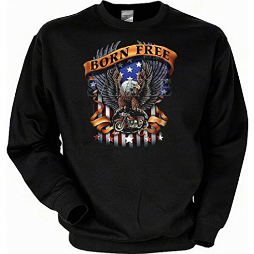 Sweatshirt mit Motiv - Born Free - englischsprachiges Sweater mit Amerika USA Flair Geschenk-Idee für Biker - Schwarz, Größe:XXL