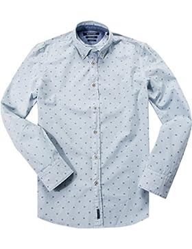 Marc O'Polo Herren Hemd Baumwolle & Mix Oberhemd Gemustert, Größe: XL, Farbe: Blau