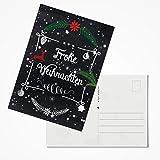 20 Stück Weihnachtspostkarten Set 2018 Postkarten Weihnachten rot-grün-schwarz-weiß Text FROHE WEIHNACHTEN Tafel-Kreide-Stil 10,5 x 14,8 cm; 1a Qualität aus eigener Herstellung!
