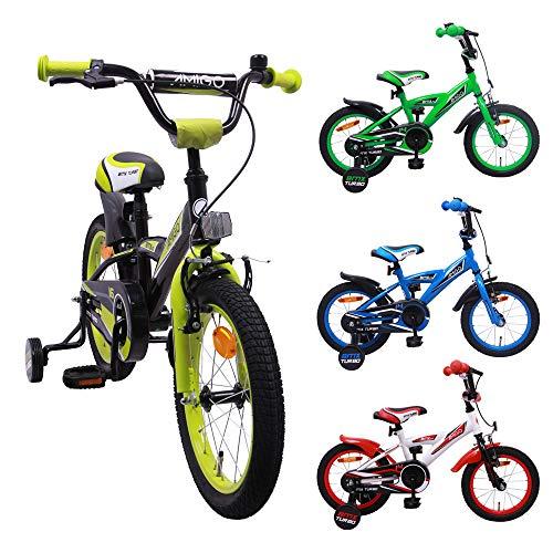 AMIGO BMX Turbo - Kinderfahrrad - 14 Zoll - Jungen - mit Rücktritt und Stützräder - ab 3 Jahre - Schwarz