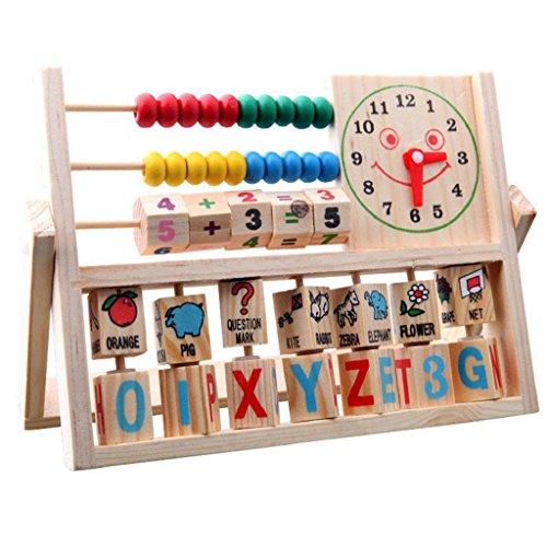 Kleinkindspielzeug Longra Kinder Multifunktions Bunte Perlen Hölzern Rechenrahmen Mathematik Abacus Soroban Alphabet Uhr Zählrahmen Rechenschieber Berechnung Tool Werkzeug