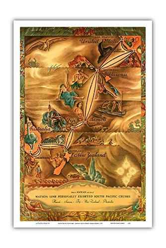 Pacifica Island Art Routenkarte Südpazifik - Hawaii, Samoa, Fidschi, Australien, Neuseeland - Matson Linie - Vintage Retro Landkarte von Ernest Hamlin Baker c.1935 - Kunstdruck - 31cm x 46cm