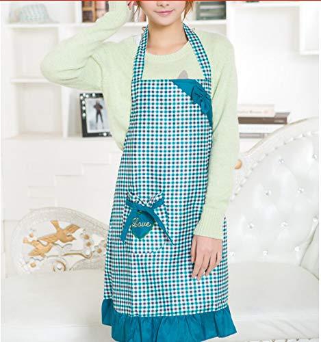 ZHAOHH Gitter-Prinzessin-Pfirsich-Haut-Verdickungs-Schürze Küche versorgt Haushaltsgegenstände die Werkzeuge blau Kochen