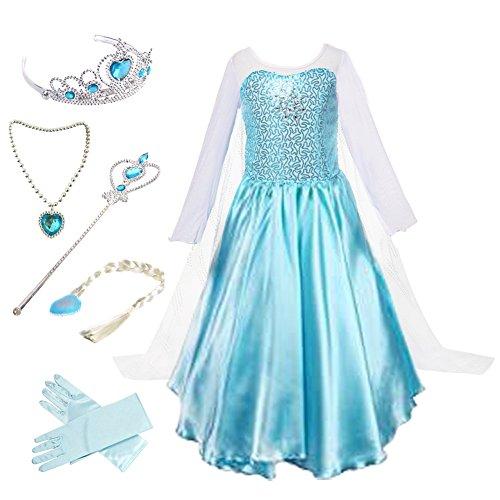 Anbelarui Mädchen Kostüm Halloween Karneval Prinzessinkleid mit Zubehör 3-10 Jahre (140 (Körpergröße 140cm, 04 Kleid&Zubehör)