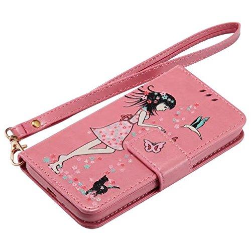 Horrizontal Folio Stand PU Ledertasche, Magnetverschluss Wallet Geldbörse Abdeckung Fall mit Lumious Shining Effekt & Lanyard für Samsung Galaxy J120 ( Color : Rose-red ) Pink