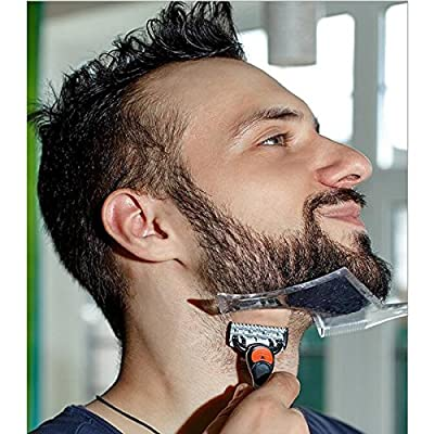 TECHSON Beard Shaping Styling Tools, Transparent Stencil with Built-In Comb, Crystal Clear Trimming Template Guide for Men, Male