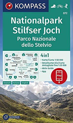 KOMPASS Wanderkarte Nationalpark Stilfserjoch, Parco Nazionale dello Stelvio: 4in1 Wanderkarte 1:50000 mit Aktiv Guide und Detailkarten inklusive ... in der KOMPASS-App. Fahrradfahren. Skitouren.