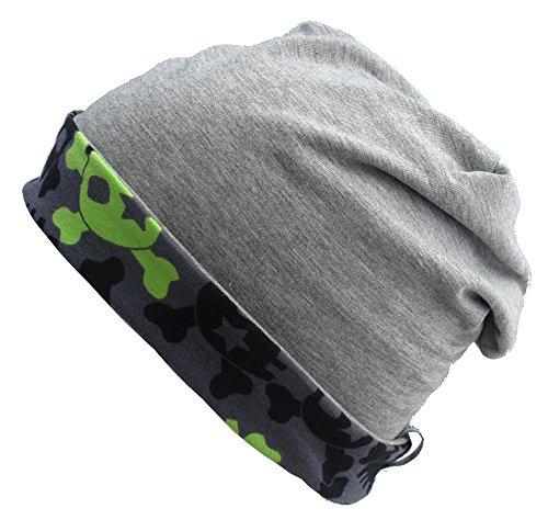 WOLLHUHN long beanie bonnet réversible, toute forme, avec crânes gris/noir pour garçons et filles 20141201 Noir - Coole Skulls grau-schwarz