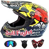 Wansheng Dual Sport Off Road Moto Motocross Casco Dirt Bike ATV Casco Dot Certificación Bull Fight con Gafas Máscara a Prueba de Viento Guantes de Carreras,M57~58CM