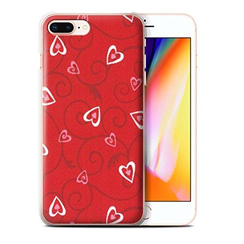 Stuff4 Hülle / Case für Apple iPhone 8 Plus / Lila/Blau Muster / Herz/Rebe Muster Kollektion Rot/Rosa