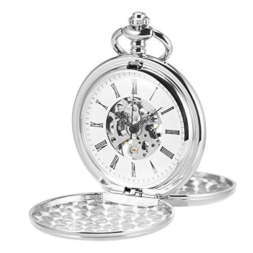 ManChDa Orologio da tasca scheletro doppio aperto Orologio meccanico carica manuale con orologio da cacciatore completo e confezione regalo
