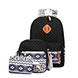 : Cdet 3Pcs School Backpack Fashion Canvas Unisex Backpack School Bag Set for Picnic Hiking Travel Birthday Gift Black
