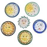 Sole e Luna in Ceramica Artistica di Caltagirone Decorata a Mano, Gruppo 6 Articoli Assortiti, Idee Regalo di Natale