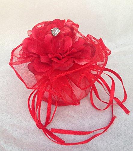 10 pezzi sacchetto rosso fiore porta confetti laurea diametro 11 cm altezza 8cm