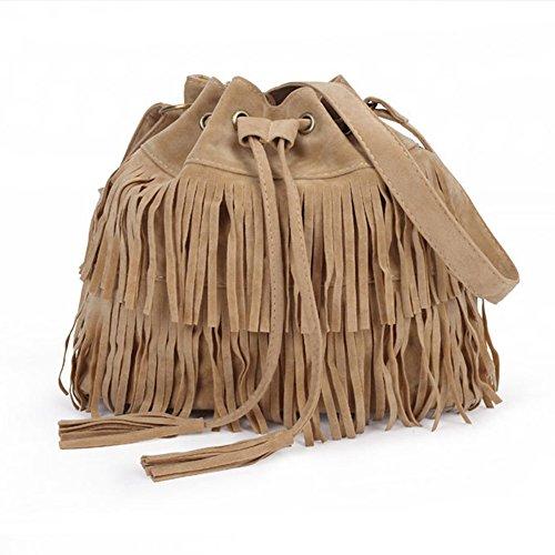 Leobtain Womens Faux Suede Fringe Tassels Cross-Body Shoulder Bag Bucket Bag Wallet Evening Party Handbag Elegant Travel Fashion -3 Colours