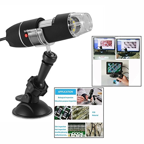 Gearmax USB 50-500x Fach Digital Mikroskop Microscope Lupe 2MP mit 8 LED Endoskop und Ständer Video...