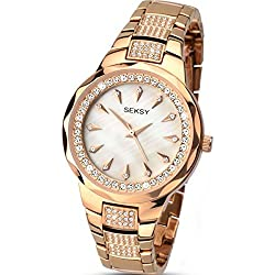 Sekonda Seksy Women's Quartz Watch with Mother of Pearl Dial Analogue Display and Rose Gold Bracelet 2186