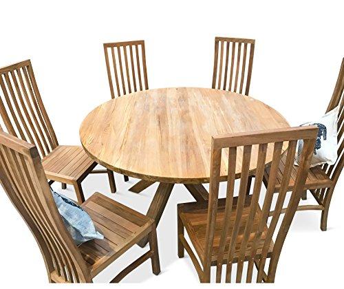 Teak Esstisch Stühle (Teak Innen rund, Teakholz, Esstisch mit 6Hohe Rückenlehne Stühle)