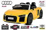 Nitro Motors Kinder Elektro Auto Audi R8 2x35W 2x6V Elektroauto Kinderfahrzeug Ferngesteuert Elektro (Weiss)