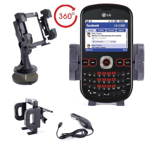 DURAGADGET KFZ Halterung Zubehörset + Micro USB Autoladestecker für LG C300 Town II / GT350 Town Handy
