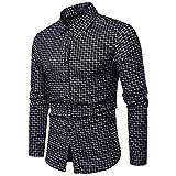 NPRADLA 2018 Shirt Herren Langarm Slim Fit Herbst Winter Bluse Kleine Gitter Casual(M/36,Schwarz)