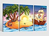 Leinwandbild 3 tlg Kinderzimmer Cartoon Pirat Schiff Meer Kat2 Bild Leinwand Leinwandbilder Wandbild Kunstdruck 9AB1565, 3 tlg BxH:90x60cm (3Stk 30x 60cm)