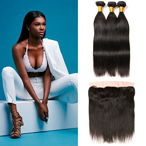 Brasilianische haare echthaar straight weave mit ear to ear closure frontal with baby hair natural hairline unprocessed human hair natural color(14 16 18+12F) -