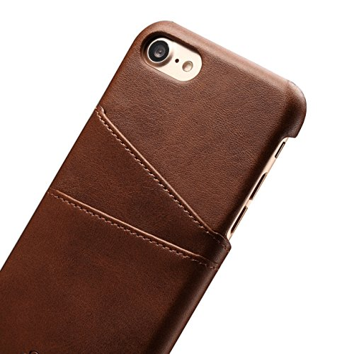 iPhone 7 Coque Etui, Bonice Coque en Cuir Flip Etui Housse Folio Bookstyle Housse Portefeuille Echelle Style Coque Housse Leather Case Wallet Shell de Protection Flip Cover Protector Coquille Couvertu E - Brun
