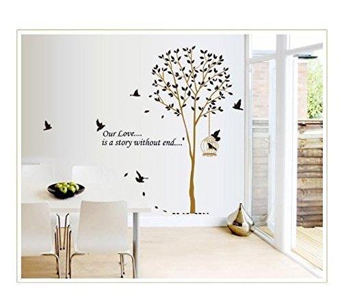 Romote Unsere Liebe ist Eine Geschichte Ohne Ende Zitat Hohen Baum mit Vögeln Wandtattoo Wal-Blätter