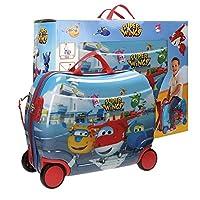Super Wings Valigia Trolley cavalcabile per Bambini, 50 cm, 34 Litri, Azzurro